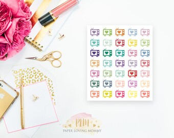 35 TV Stickers | Colorful Icon Stickers | Planner Stickers designed for use with the Erin Condren Life Planner | 0609