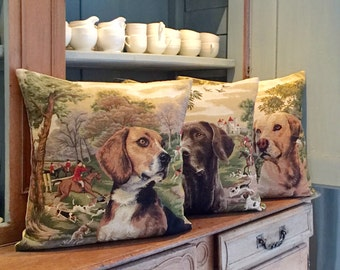 3 belgian tapestry gobelin throw pillow cushion covers dogs in forest setting foxhunt background for him - PC-5465/3