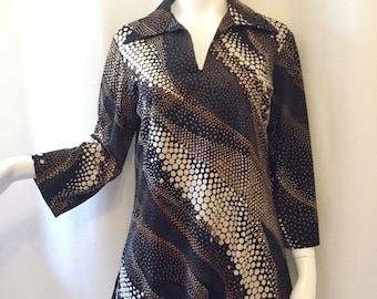 Mardi Modes 1970s Brown Polka Dot Print Tunic
