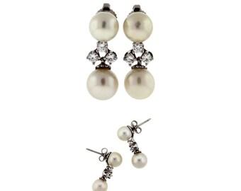 Vintage / Estate Pearl and Diamond Drop Earrings