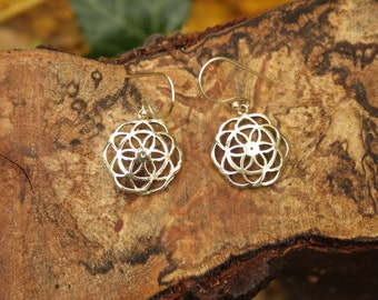 Seed of Life Brass Earrings  Small Sacred Geometry Small  Ø2 cm