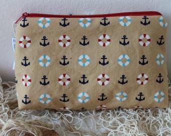 anchors, lifebelt, makeup bag, cosmetic pouch, toiletry bag, zipper pouch, makeup organize