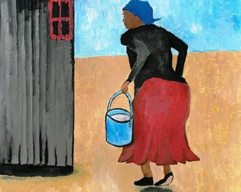Digital grandma'acrylic painting,with gesso on acrylic,downloadable artwork,old woman  happy,doing village chores,Home decor,figurative art,