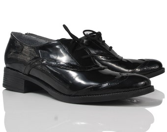 Jenna Black Patent Leather Oxford Shoes