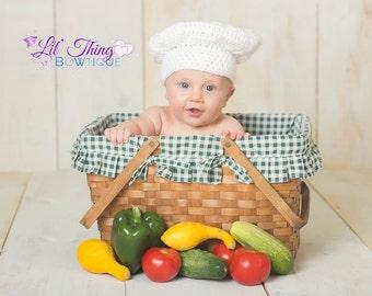 Chef Hat, Chef Costume, Chef Top Hat, Chef Photo Prop, Crochet Chef Hat, Baker Hat, Baker Costume, Baby Shower Gift, Newborn Photo Prop