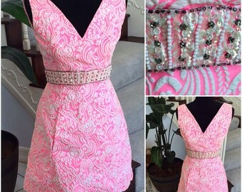 Vintage 1960 Pink Dress with Beaded Waist  Small