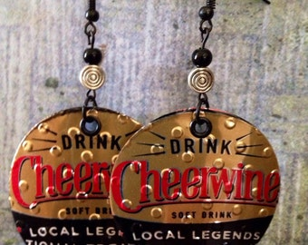 Up-cycled Cheerwine Soda Can Earrings, pop can earrings