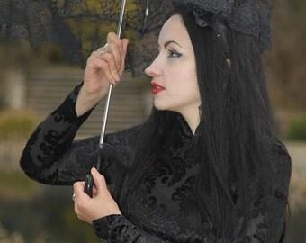 Black Damask Stretch Velvet Mandarin Chinese Gothic Top