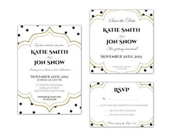 Elegant Modern Wedding Invitation, Save the Date and RSVP