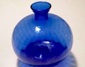Vintage Cobalt Blue Glass Sphere Vase