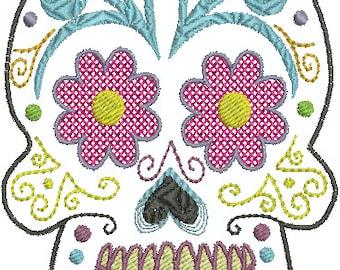 Textured Sugar Skull - Digital embroidery Design