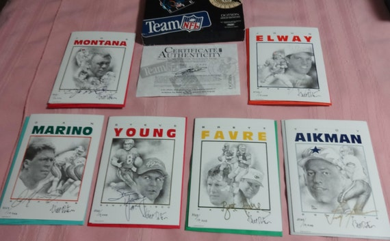 1996 Bill Dotson Team NFL 6 Different Quarterback Greeting Cards--Signed by Bill Dotson & Numbered. COA