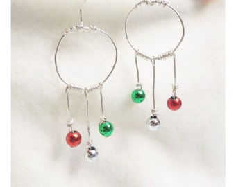 Hungarian christmas earrings red green silver dangle wirewrapped