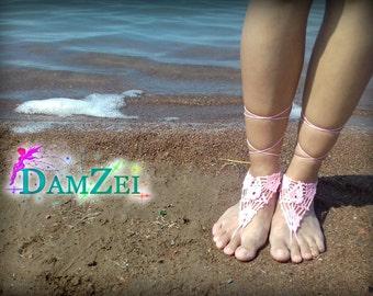 Pink Barefoot Sandal, Crocheted flower Anklet, Pink Black Gray Barefoot Sandal, Wedding Lace Barefoot Sandal, Barefoot Anklet, Foot Jewelry