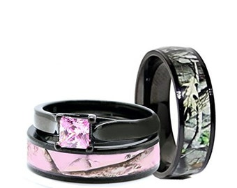 his and hers camo wedding rings set black plated titanium and stainless steel black pink blue - Camo Wedding Ring Sets For Him And Her