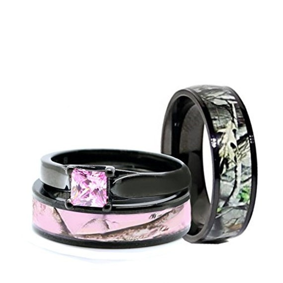 his and her camo wedding rings his and hers camo wedding rings set black plated titanium and 4805