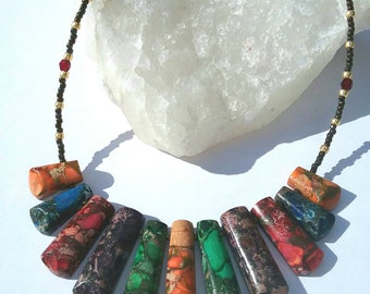 Rainbow Jasper Fan Necklace