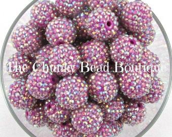 20mm plum AB rhinestone bead