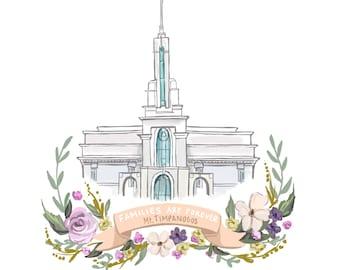 Mt Timpanogos Temple, LDS, Families are Forever, Mormon art, flower wreath, banner, latterdaysaint, decoration, gift idea, FHE, young womens