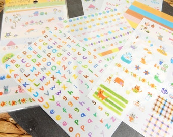 Alphabet Letters Stickers, Mixed Sticker Set, Scrapbooking Stickers, Journaling Decal, Diary Stickers, Cats