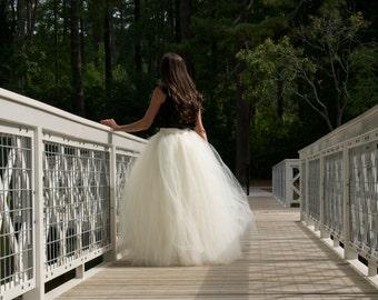 Wedding tulle skirt,floor length tutu skirt ,Adult tulle skirt ,custom made tulle skirt,wedding dress.ivory tutu,premium tulle wedding skirt