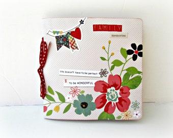 Family photo book, Retro mini album, Square 6x6 Scrapbook album, Premade handmade photo album, Red floral Memories mini album, Ready to ship