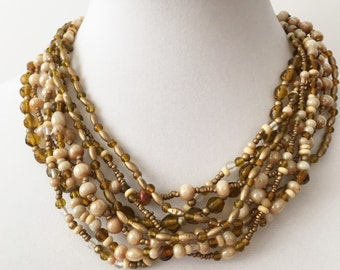 Vintage Beaded Necklace Neutral Colors