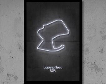 Laguna Seca Circuit Neon Art F1 Circuit F1 Art F1 Track Circuit Print Man Cave Gift for Him Automotive Art Race Track Home Décor Neon Print