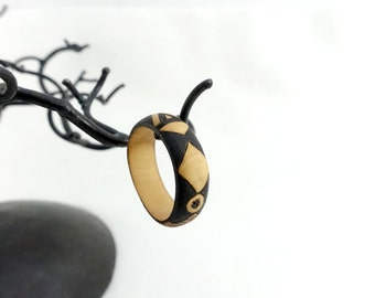 Wooden ring, large wooden ring pyrographed with ethnical patterns