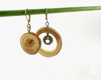 Wooden earrings, asymetrical wooden earrings with discreet steampunk charms