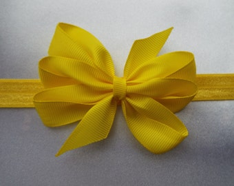 Yellow ribbon 3 inch bow on a yellow soft elastic headband baby, toddler or girls new