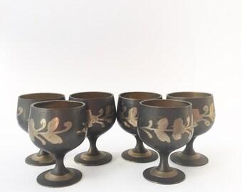 Brass cordial glasses, vintage
