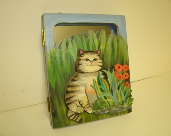 Hinged Two Piece Hand Painted Cat Mirror