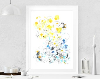 Yellow painting Abstract painting on paper Abstract art Watercolor painting Modern art Original painting Abstract wall art Wall hanging