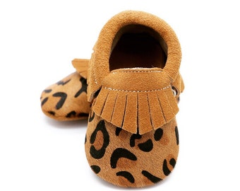 Leopard calf leather baby leather shoes, baby mocs, gold moccasins for baby girls, crib shoes, baby shower gift