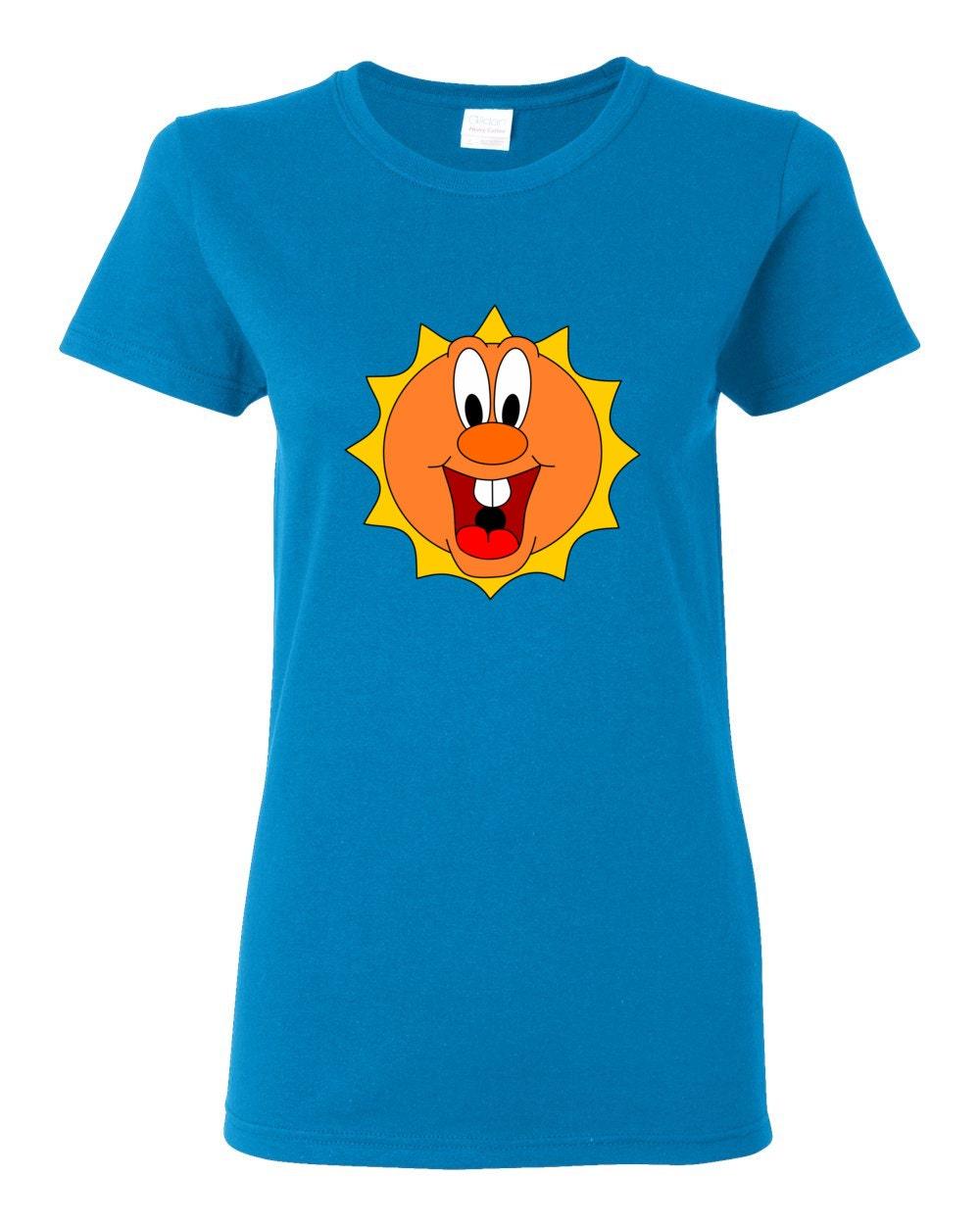 Happy Cartoon Sun Womens T-shirt