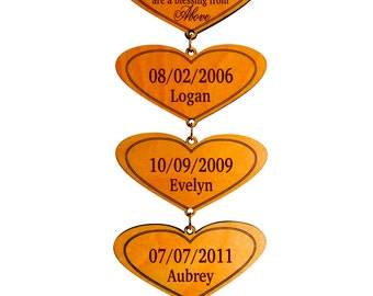 Gift To GrandParents Personalized,Grand Kids Life's Greatest Blessing,Grandpa and Grandma Gift,Custom Grand Kids Names Birthdays Wall Hearts