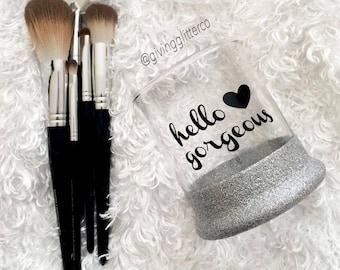 Hello Gorgeous // Glitter Dipped Makeup Brush Holder