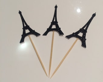 Sparkling Eiffel Tower Cupcake Toppers