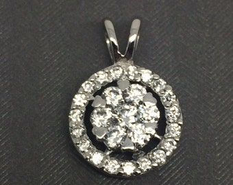 White Gold Rhodium Sterling Silver Cluster CZ Pendant