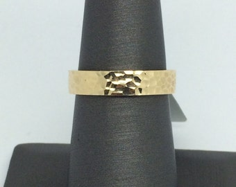 14K Solid Yellow Gold Hammered Band