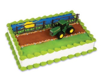 Farm Tractor Cake Topper 3 Piece Decoration Set