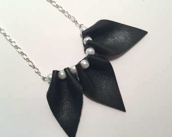 Beautiful pendant necklace Made from recycled lamb leather
