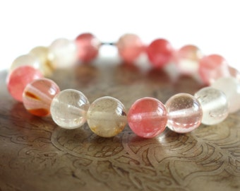 Cherry quartz - meditation bracelet - Yoga bracelet - Mala bracelet - Women's yoga jewelry - chakra bracelet - quartz bracelet -  wrist mala