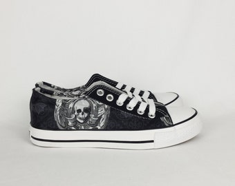 Gothic skulls pumps, skull shoes, custom converse style shoes, goth shoes, alternative fashion, women shoes, custom sneakers, boho punk alt
