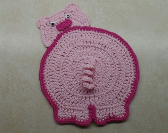 Crochet Funny Piggy Butt Potholder Pattern - (Decoration Purpose Only) DIGITAL DOWNLOAD ONLY