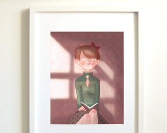 Reading book | reading | book | book lover | teacher | gift for teacher | art print giclee | poster | wall decor | Illustration | poster