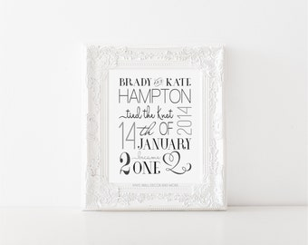 Engagement, Wedding, Anniversary Announcement Print- Digital