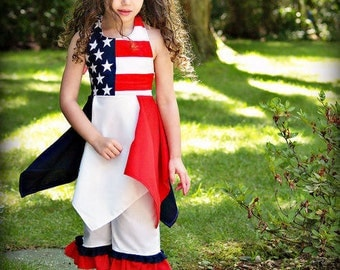 Red, White & Blue Patriotic Boutique 2 pc outfit, Boutique Pageant clothing. Sizes available 2-12 girls