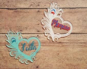 Heart Feather keychain, personalized, vinyl, glitter vinyl